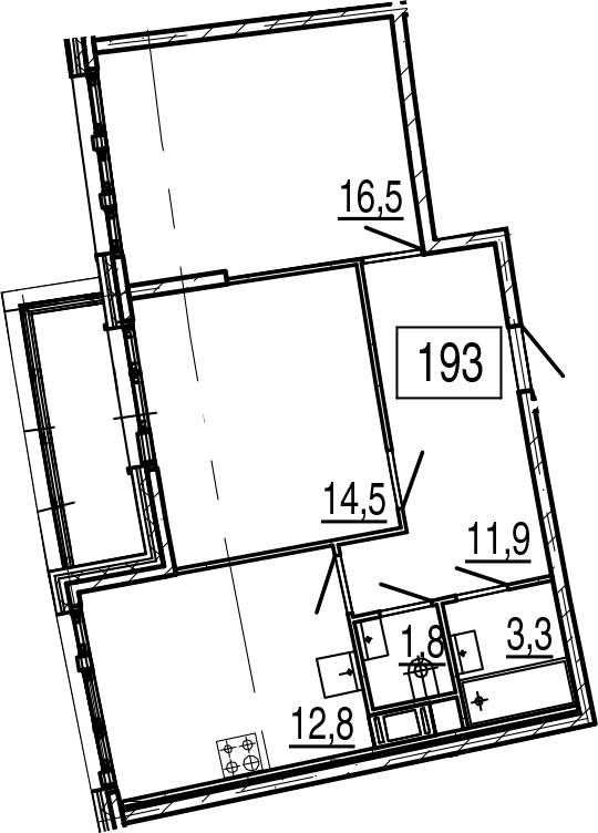 2-комнатная 65 м<sup>2</sup> на 11 этаже