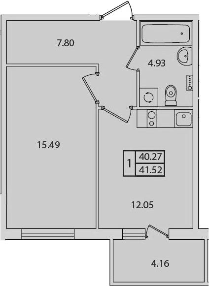 1-к.кв, 44.43 м²
