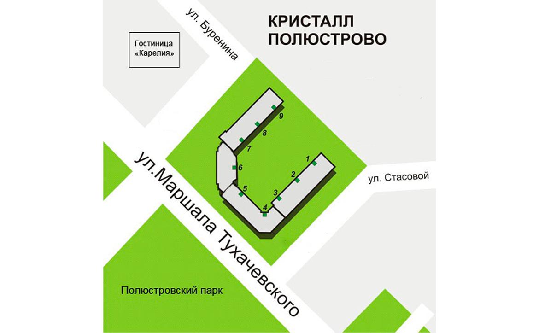 План жилого комплекса ЖК Кристалл Полюстрово