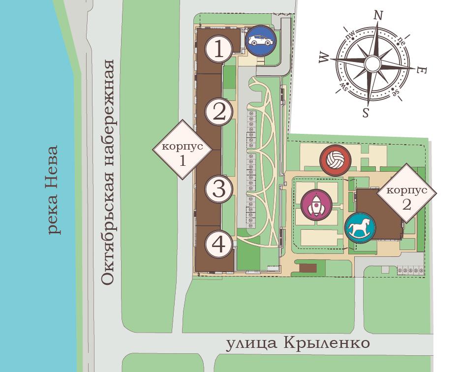 План жилого комплекса ЖК Полис на Неве
