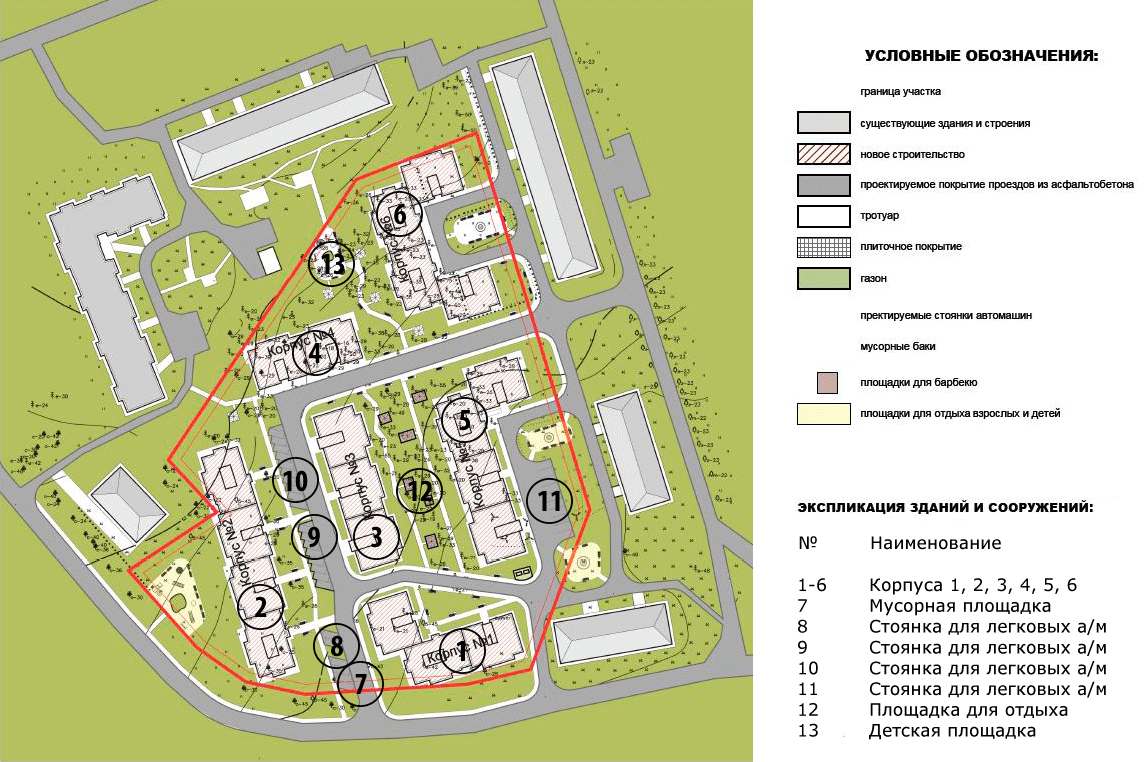 План жилого комплекса ЖК Красавица