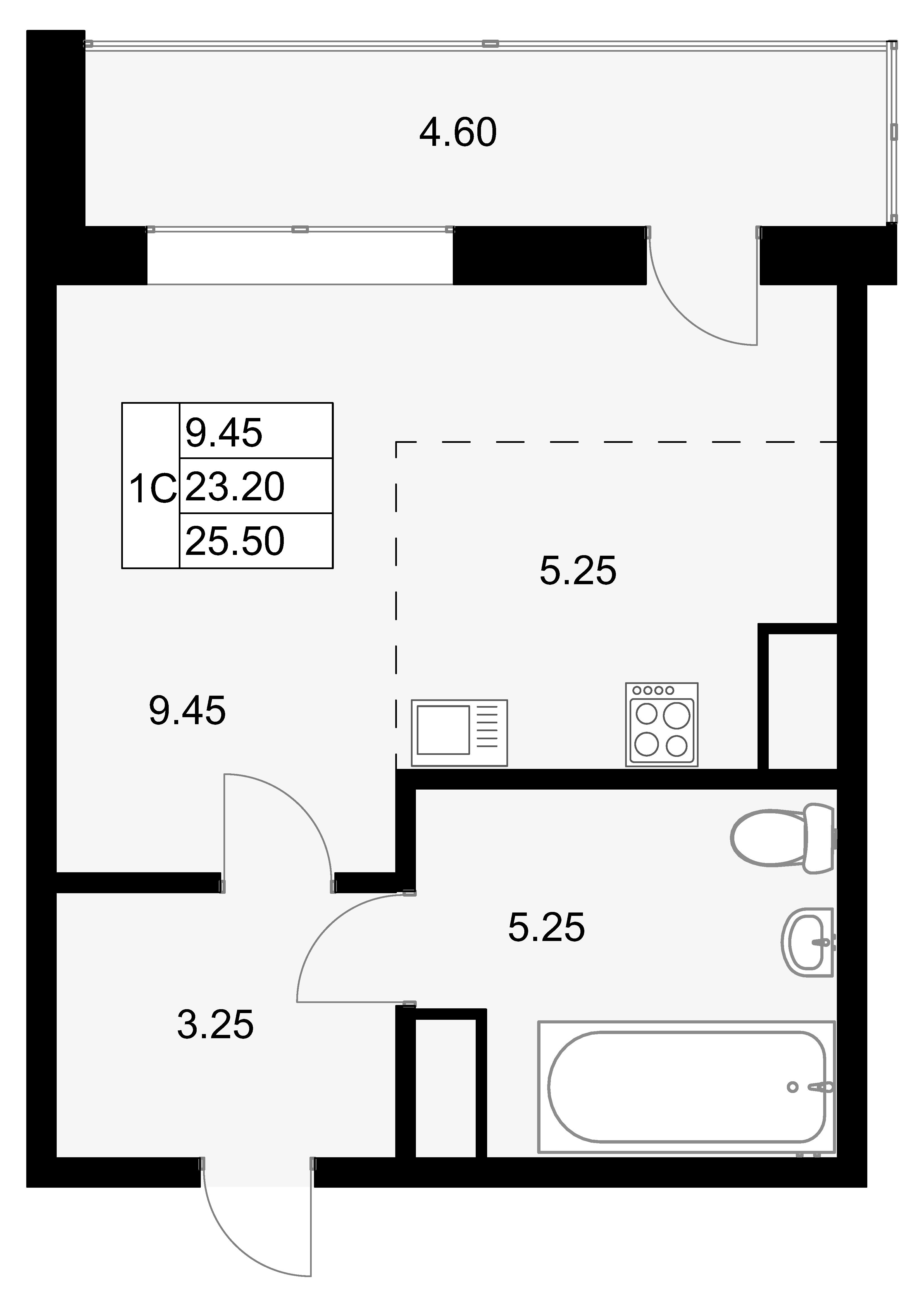 Студия, 27.8 м²