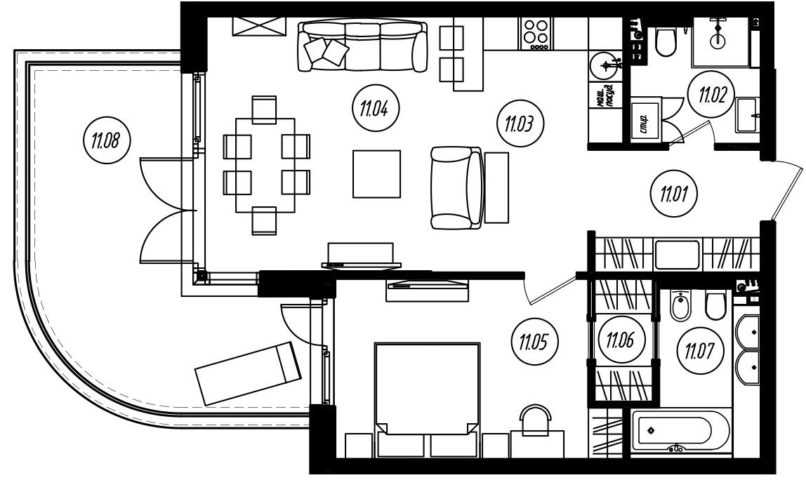 2-комнатная 80 м<sup>2</sup> на 2 этаже