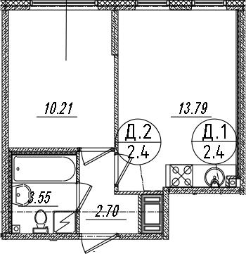 2-комнатная 30 м<sup>2</sup> на 8 этаже