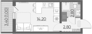 Студия 23 м<sup>2</sup> на 9 этаже