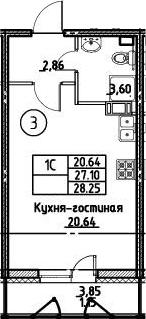 Студия 30 м<sup>2</sup> на 11 этаже