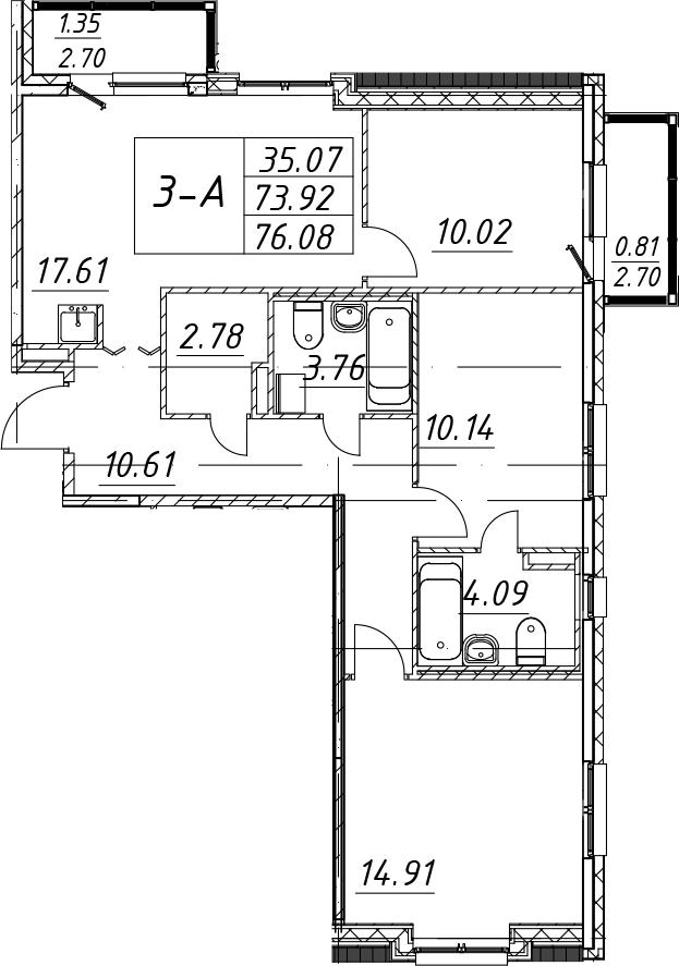 4-комнатная 79 м<sup>2</sup> на 5 этаже