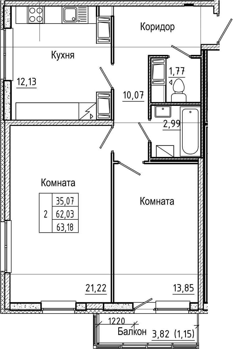 2-комнатная 65 м<sup>2</sup> на 24 этаже