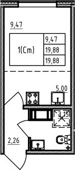 Студия 19 м<sup>2</sup> на 13 этаже