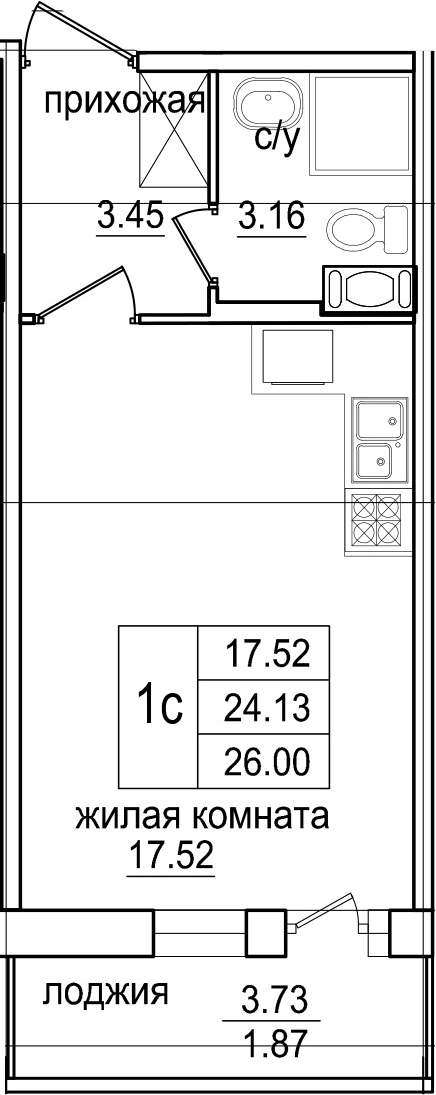 Студия 27 м<sup>2</sup> на 10 этаже