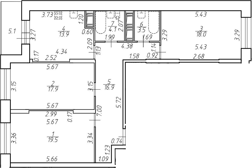 3-комнатная 98 м<sup>2</sup> на 14 этаже