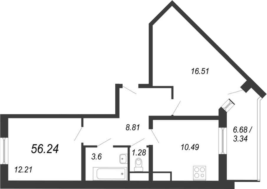 2-к.кв, 59.58 м²