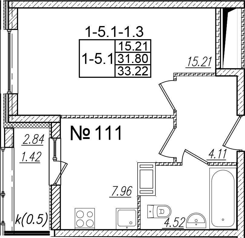 1-к.кв, 34.64 м²
