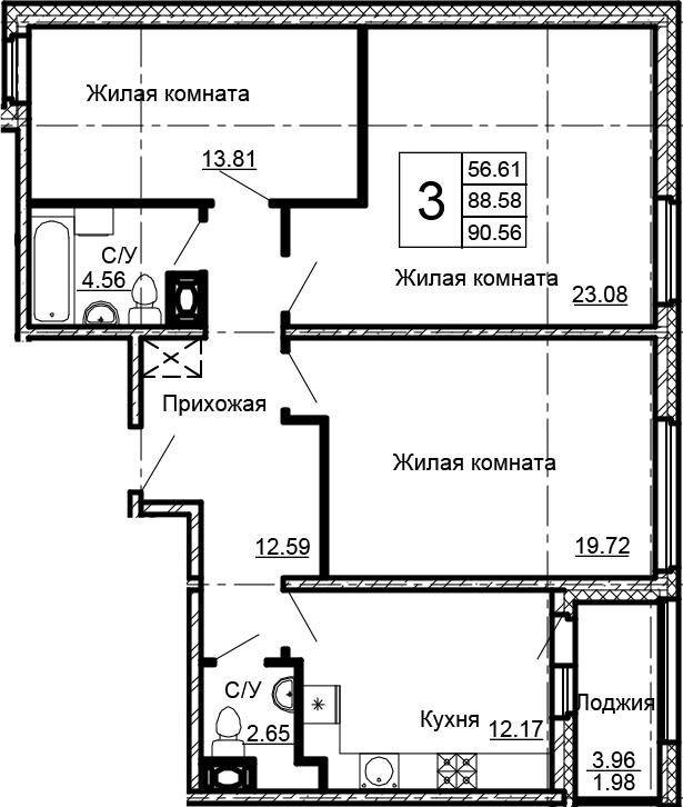 3-комнатная 92 м<sup>2</sup> на 7 этаже