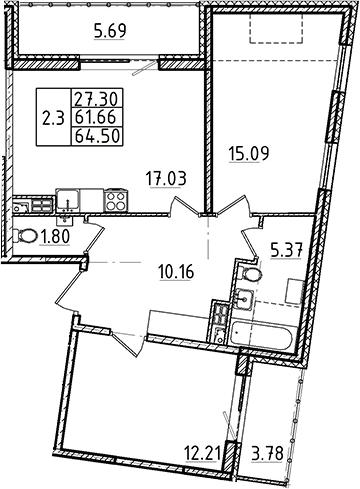 3-комнатная 71 м<sup>2</sup> на 5 этаже