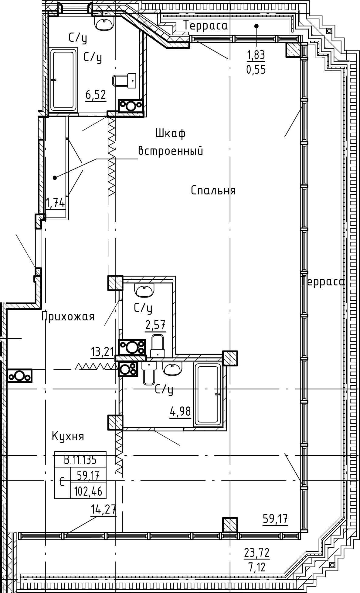 Студия 128 м<sup>2</sup> на 11 этаже
