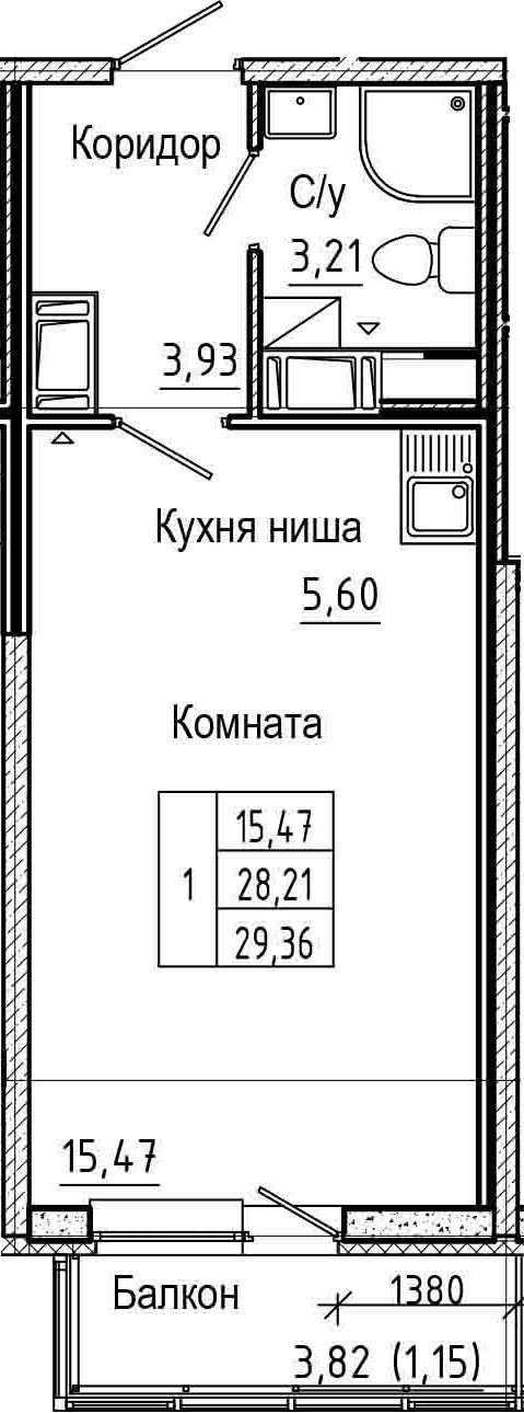 Студия 32 м<sup>2</sup> на 17 этаже