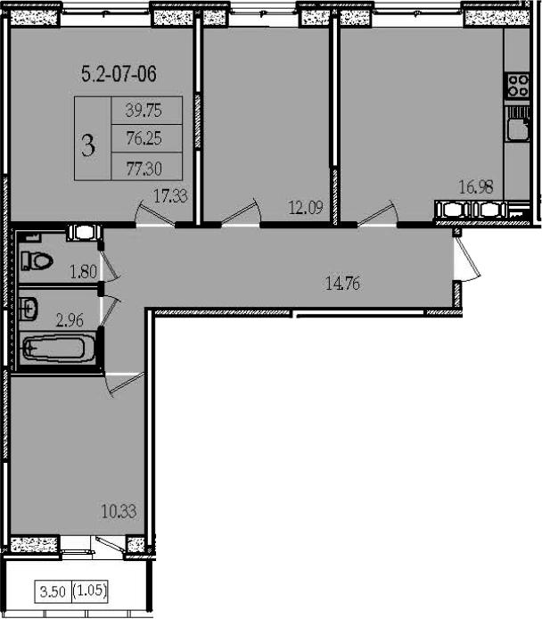 4-комнатная 79 м<sup>2</sup> на 7 этаже