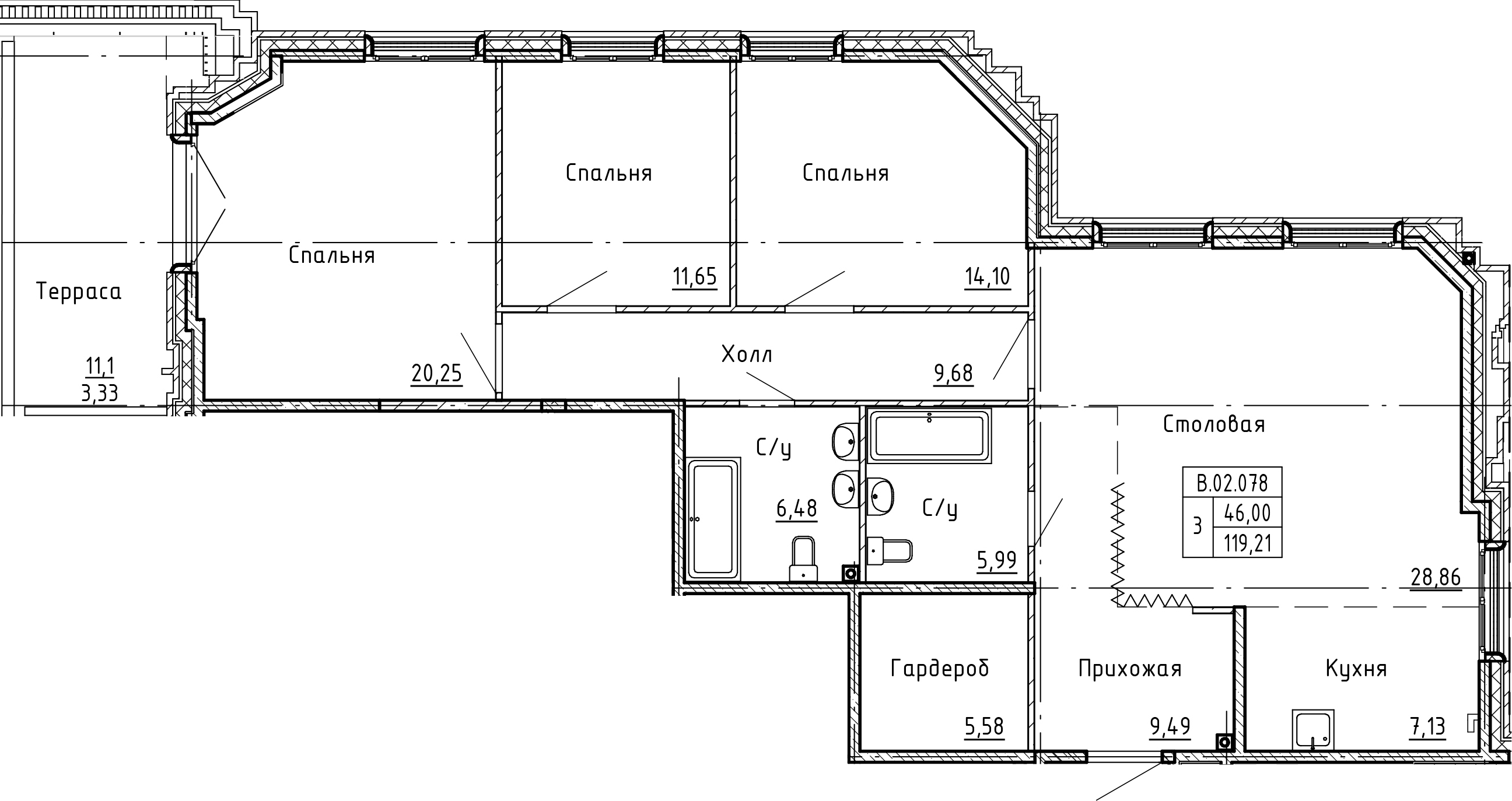 4-комнатная 130 м<sup>2</sup> на 2 этаже