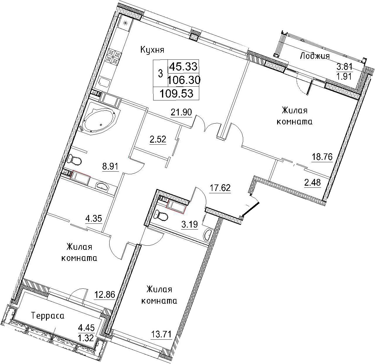 4-к.кв (евро), 114.52 м²