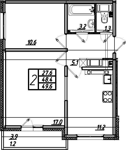 2-комнатная 52 м<sup>2</sup> на 25 этаже