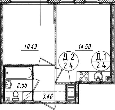 2-комнатная 32 м<sup>2</sup> на 14 этаже