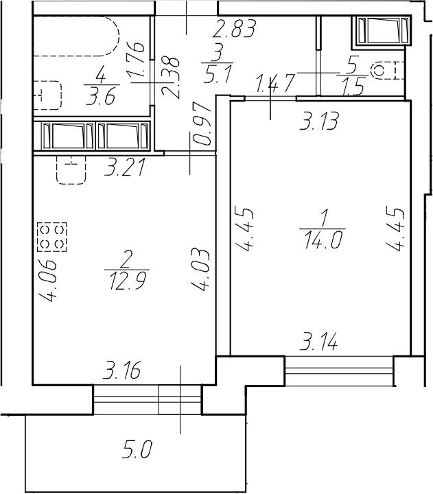 1-комнатная 42 м<sup>2</sup> на 14 этаже