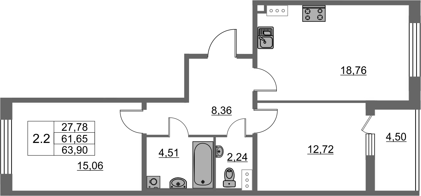 3-комнатная 66 м<sup>2</sup> на 9 этаже