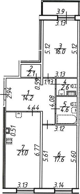 2-комнатная 82 м<sup>2</sup> на 8 этаже