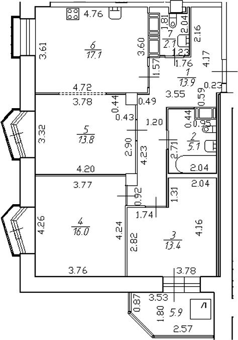 4-комнатная 87 м<sup>2</sup> на 19 этаже