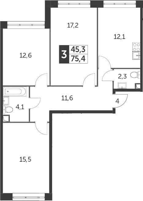 3-к.кв, 75.4 м²