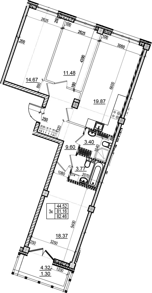 4-комнатная 85 м<sup>2</sup> на 6 этаже