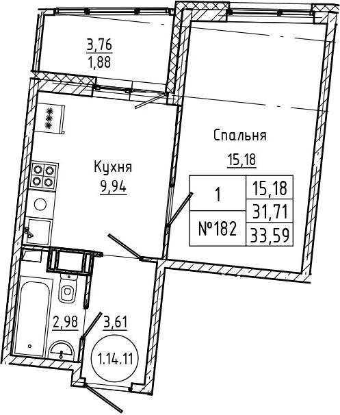 1-комнатная 35 м<sup>2</sup> на 14 этаже