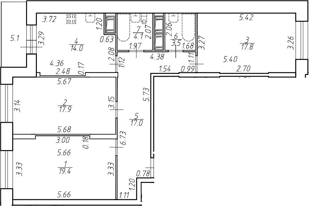 3-комнатная 98 м<sup>2</sup> на 13 этаже