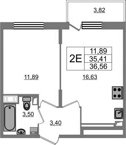 2-комнатная 39 м<sup>2</sup> на 14 этаже