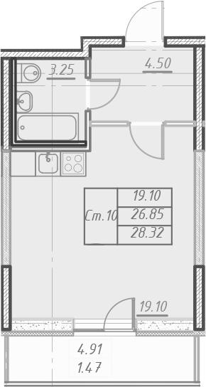Студия 31 м<sup>2</sup> на 19 этаже
