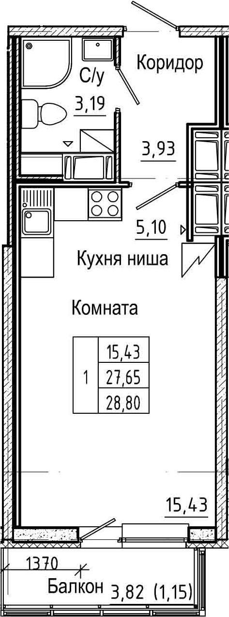 Студия 31 м<sup>2</sup> на 21 этаже