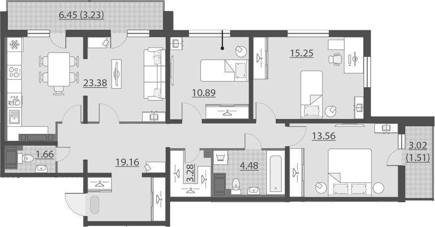 4-к.кв (евро), 101.14 м²