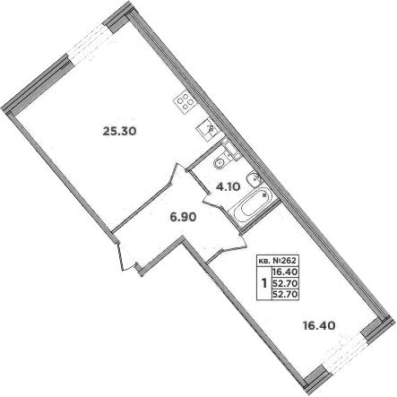 2-к.кв (евро), 52.7 м²