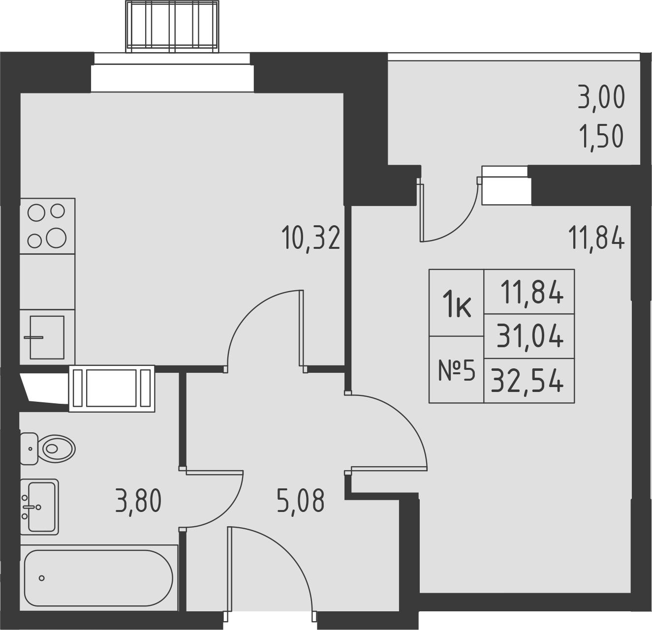 1-к.кв, 34.04 м²