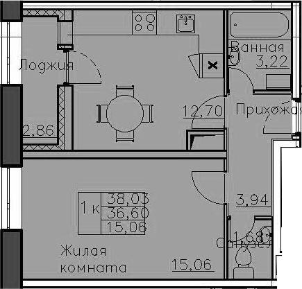 1-к.кв, 39.46 м²
