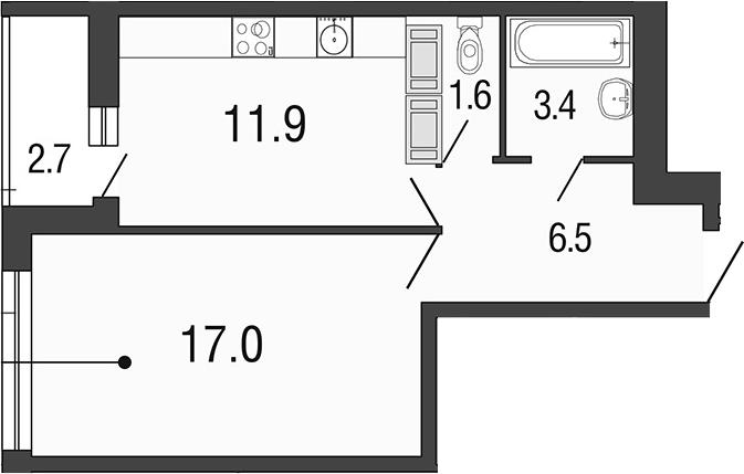 1-комнатная 43 м<sup>2</sup> на 25 этаже