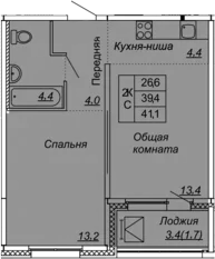 2-комнатная 42 м<sup>2</sup> на 4 этаже