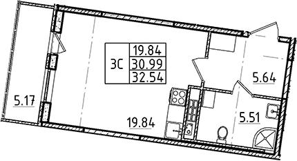 Студия 36 м<sup>2</sup> на 4 этаже