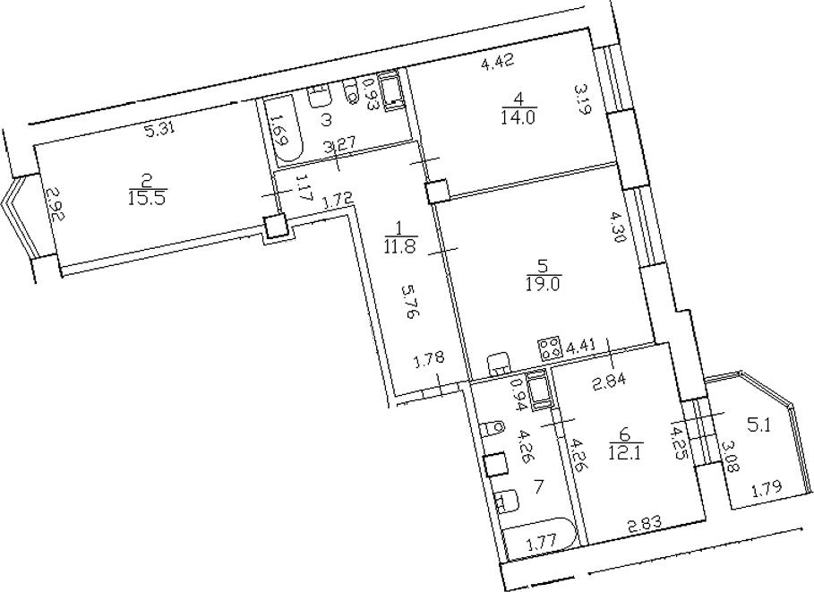 4-комнатная 88 м<sup>2</sup> на 13 этаже