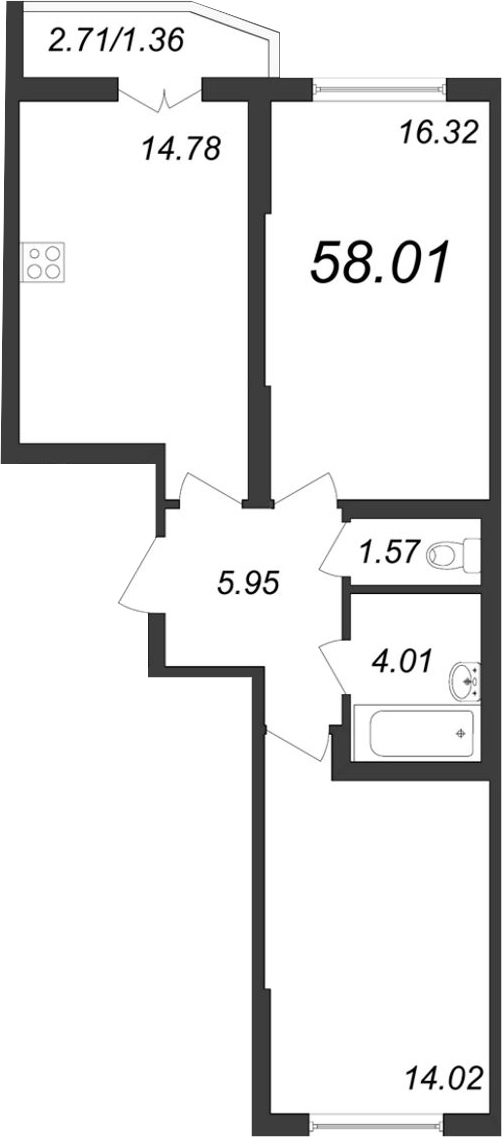 2-к.кв, 61.18 м²