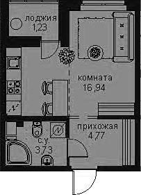 Студия, 27.9 м²