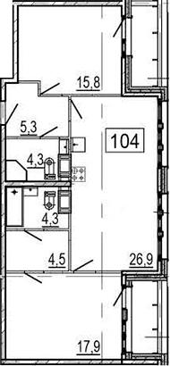 3-комнатная 86 м<sup>2</sup> на 10 этаже