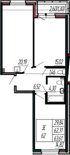 3-комнатная 64 м<sup>2</sup> на 1 этаже