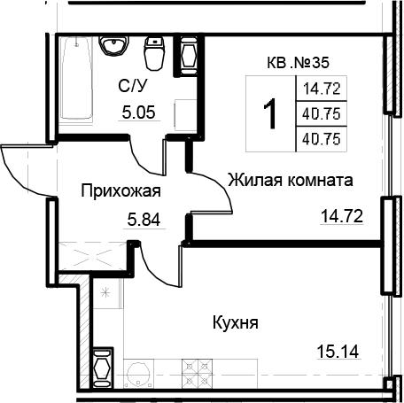2-комнатная 40 м<sup>2</sup> на 3 этаже